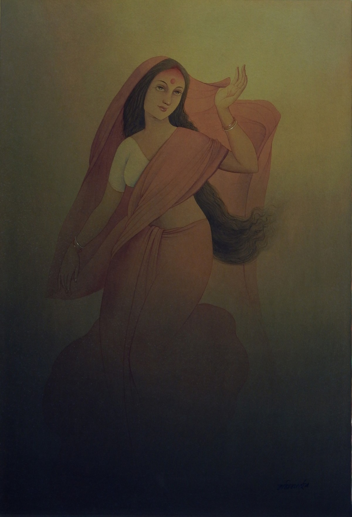 Bengali Wife by Rajib Gain, Realism Painting, Watercolor Wash on Paper, Brown color