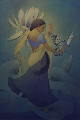 Apsara by Rajib Gain, Fantasy Painting, Watercolor Wash on Paper, Blue color