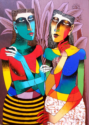 In the Garden by Dayanand Kamakar, Decorative Painting, Acrylic on Canvas, Brown color