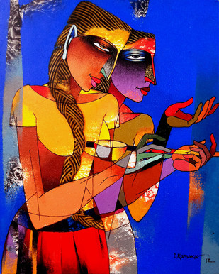 Violin Sellers 23 by Dayanand Kamakar, Decorative Painting, Acrylic on Canvas, Blue color
