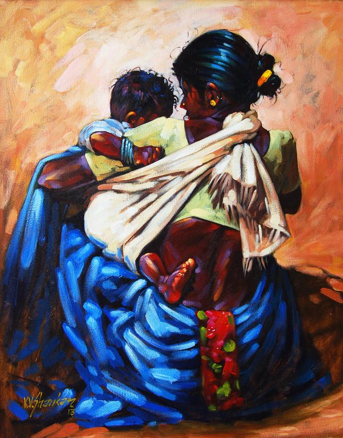 Mother & Child by K V Shankar, , , Brown color