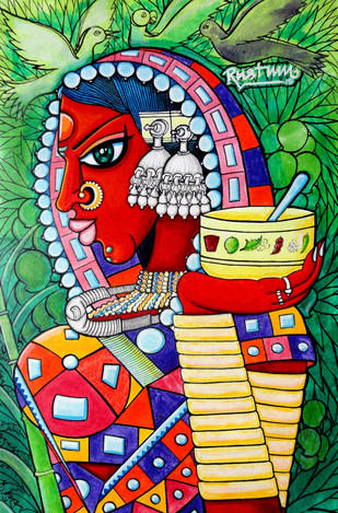 Vanadevatha by M D Rustum, Painting, Acrylic on Canvas, Green color