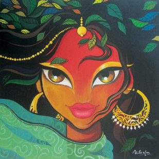 The Wind in my Hair by Niloufer Wadia, Decorative Painting, Acrylic on Canvas, Green color