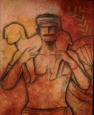 Serene Life by Janaki Injety, Decorative Painting, Acrylic on Canvas, Brown color