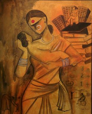 Joy by Janaki Injety, Decorative Painting, Acrylic on Canvas, Brown color