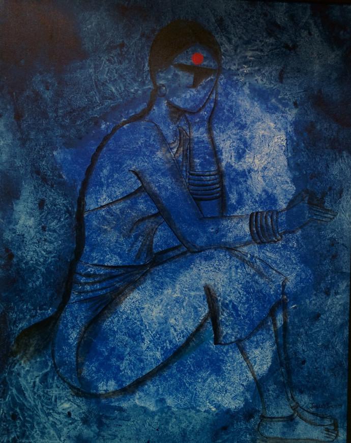 Waiting Digital Print by Janaki Injety,Decorative