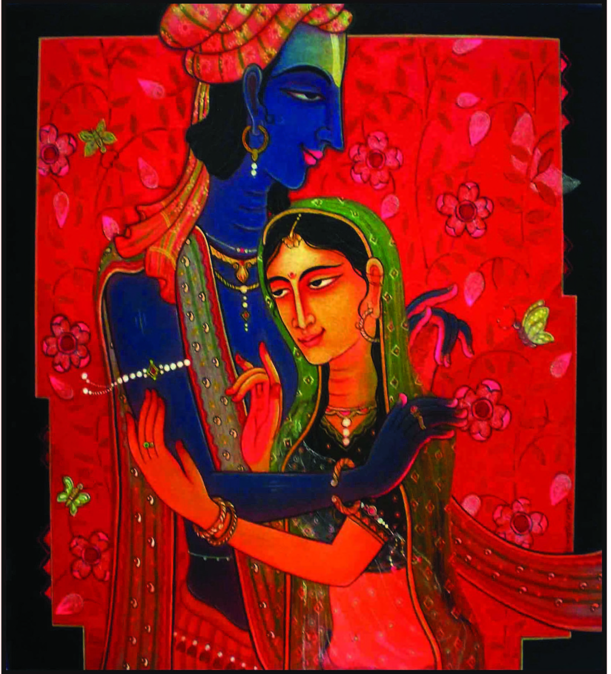 Basant Bahar by Atin Mitra, Impressionism Painting, Mixed Media on Canvas, Brown color