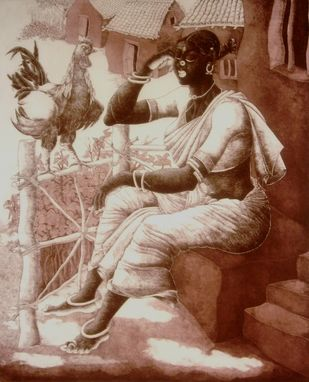 Untitled by Bairu Raghuram, Traditional Printmaking, Etching on Paper, Brown color