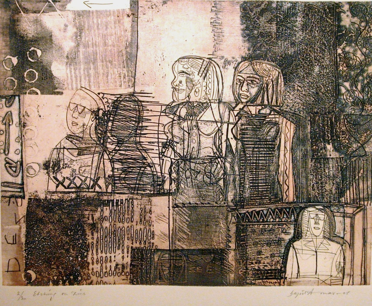 Untitled by Sajid bin Amar, Printmaking, Etching on Paper, Brown color
