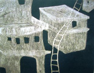 Abode by Shuvaprasanna B, Printmaking, Etching on Paper, Gray color