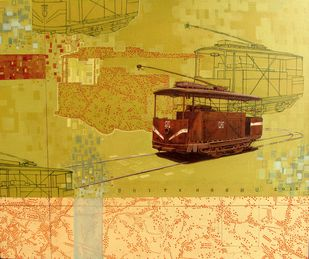 Today's journey by Shitangshu Mondal, Conceptual Painting, Acrylic on Canvas, Beige color