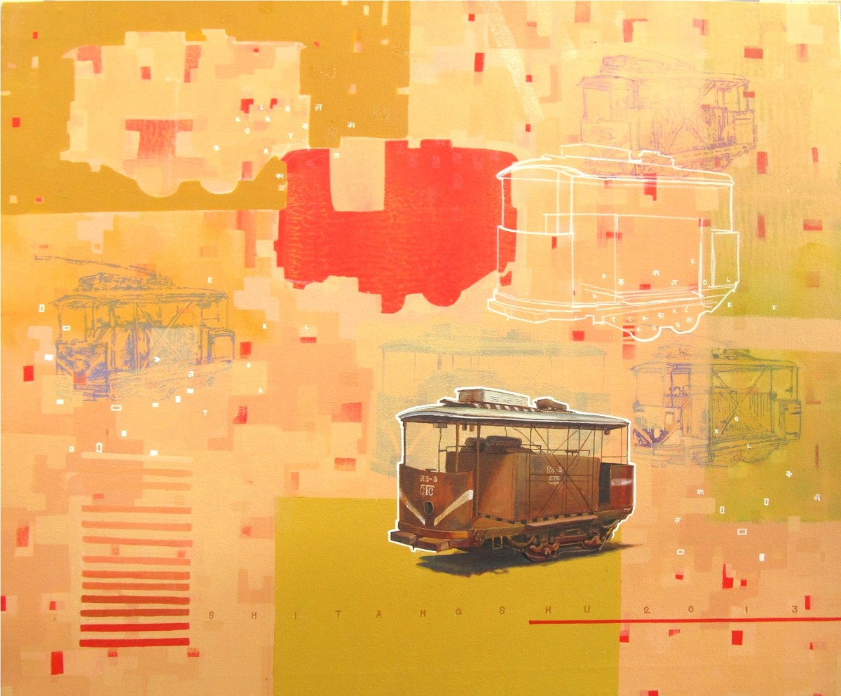 Complicated Journey by Shitangshu Mondal, Conceptual Painting, Acrylic on Canvas, Beige color