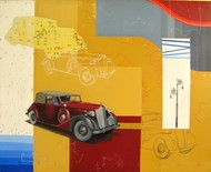 Journey 1 by Shitangshu Mondal, Conceptual Painting, Acrylic on Canvas, Orange color