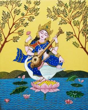 Saraswati by Pradip Sarkar, Decorative Painting, Acrylic on Canvas, Beige color