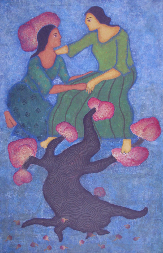 Two Friends by Monica Ghule, Surrealism Painting, Acrylic on Canvas, Blue color