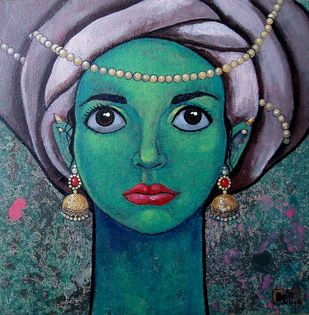 Girl with beautiful eyes by Suruchi Jamkar, Decorative Painting, Acrylic on Canvas, Green color