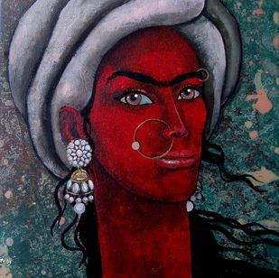 Girl with bright eyes by Suruchi Jamkar, Decorative Painting, Acrylic on Canvas, Brown color