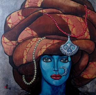 Blue girl with a big turban by Suruchi Jamkar, Decorative Painting, Acrylic on Canvas, Brown color