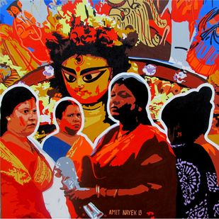Durga by Amit Nayek, Pop Art Painting, Acrylic on Canvas, Brown color
