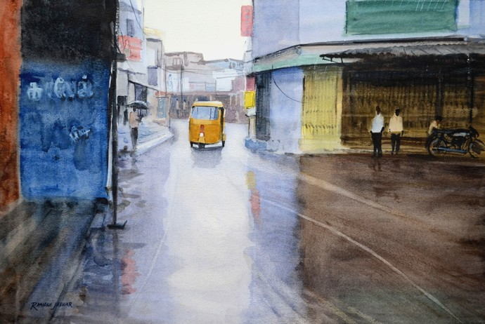 Wet Evening by Ramesh Jhawar, Impressionism Painting, Watercolor on Paper, Brown color