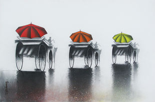 Rhythmic Monsoon Ride by Somnath Bothe, , , Gray color