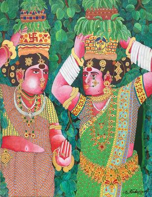 Bonalu by Narahari Bhawandla, Decorative Painting, Acrylic & Ink on Canvas, Green color