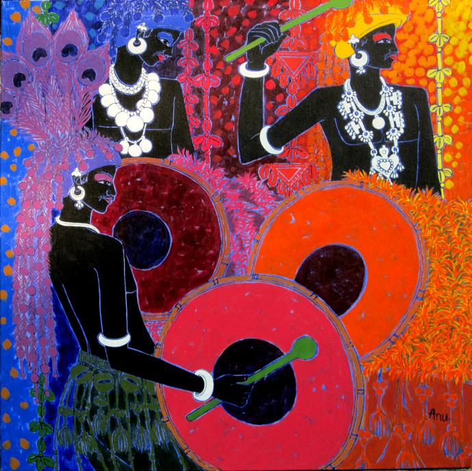 Festive Rhythm 42 by Anuradha Thakur, Traditional Painting, Acrylic on Canvas, Blue color