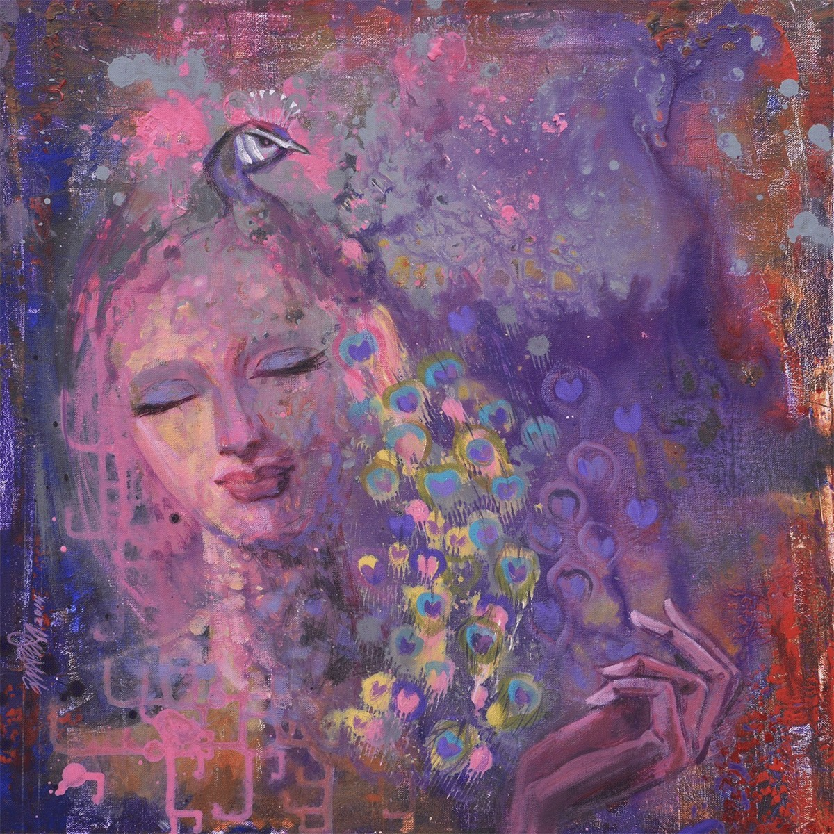 Desire Dream 1 by Ram Thorat, Painting, Acrylic on Canvas, Purple color