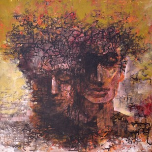 The Universe is Within You by Ram Thorat, Painting, Acrylic on Canvas, Brown color