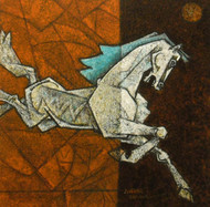 Charging Ahead in my Dreams 8 by Dinkar Jadhav, Decorative Painting, Acrylic on Canvas, Brown color