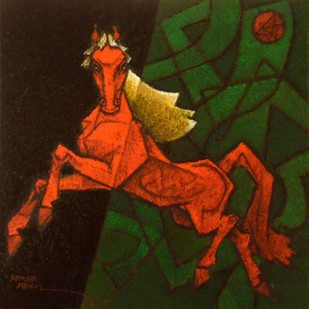 Dancing Under the Moon Light 10 by Dinkar Jadhav, Decorative Painting, Acrylic on Canvas, Brown color