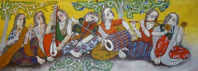 Orchestra Digital Print by Jayshree P Malimath,Traditional
