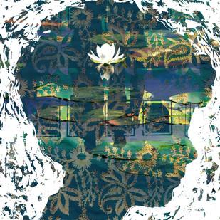Boy with lotus by Sayak Mitra, , , Green color