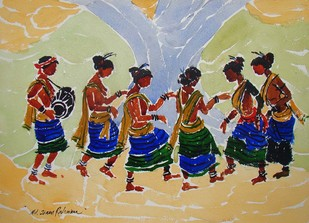 Tribal Dance by Jiaur Rahman, , , Beige color