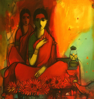 Flower Selling Women by Sachin Sagare, , , Brown color
