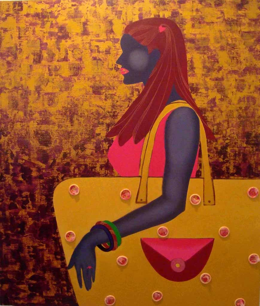 21st Century by Puja Sarkar, Pop Art Painting, Mixed Media on Canvas, Brown color