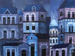 Blue - 131 Digital Print by Suresh Gulage,Art Deco