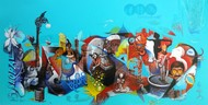 Rahgiri day by Mahesh Pal Gobra, Expressionism Painting, Acrylic on Canvas, Cyan color