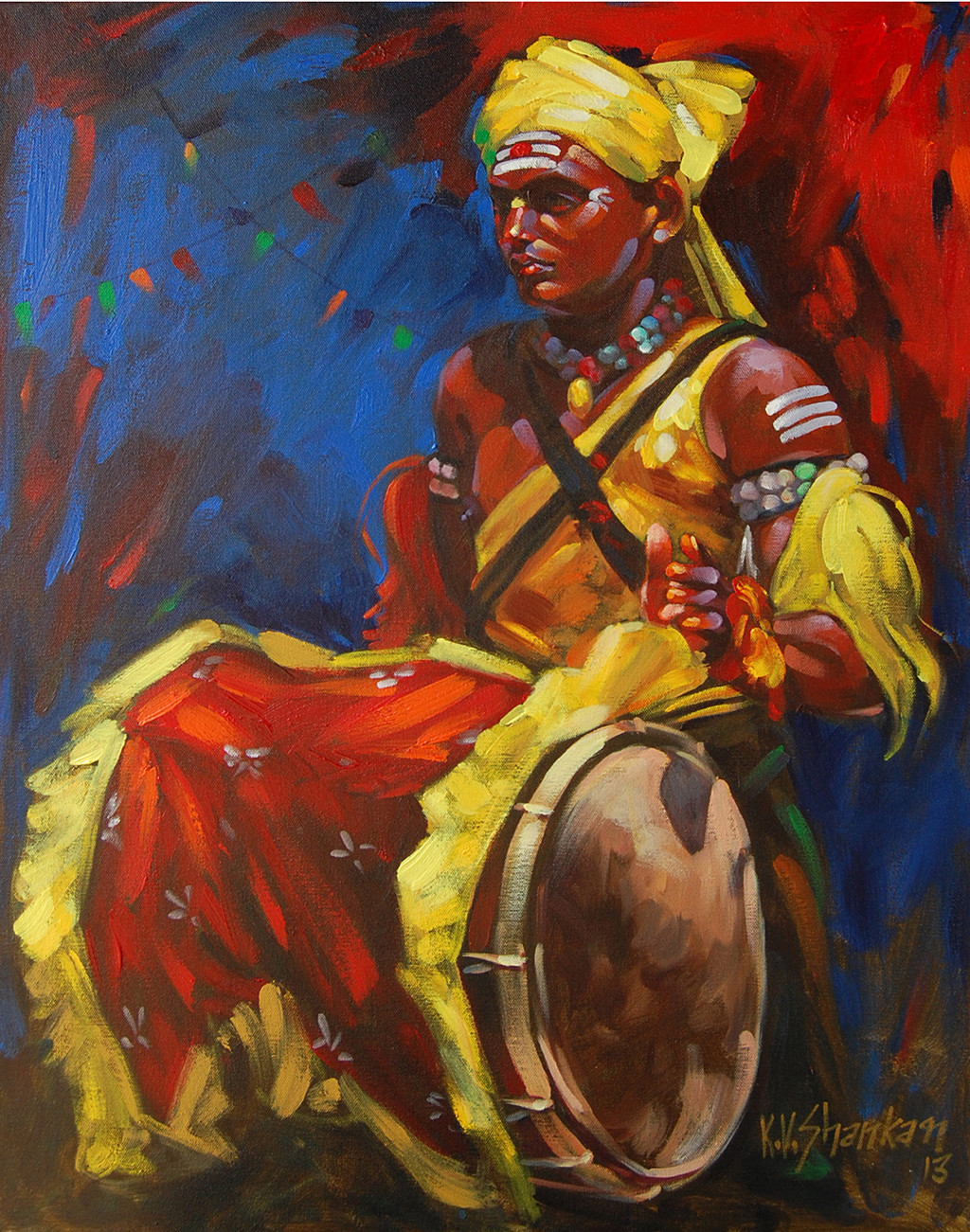 Drummer 14 by K V Shankar, Impressionism Painting, Acrylic on Canvas, Brown color
