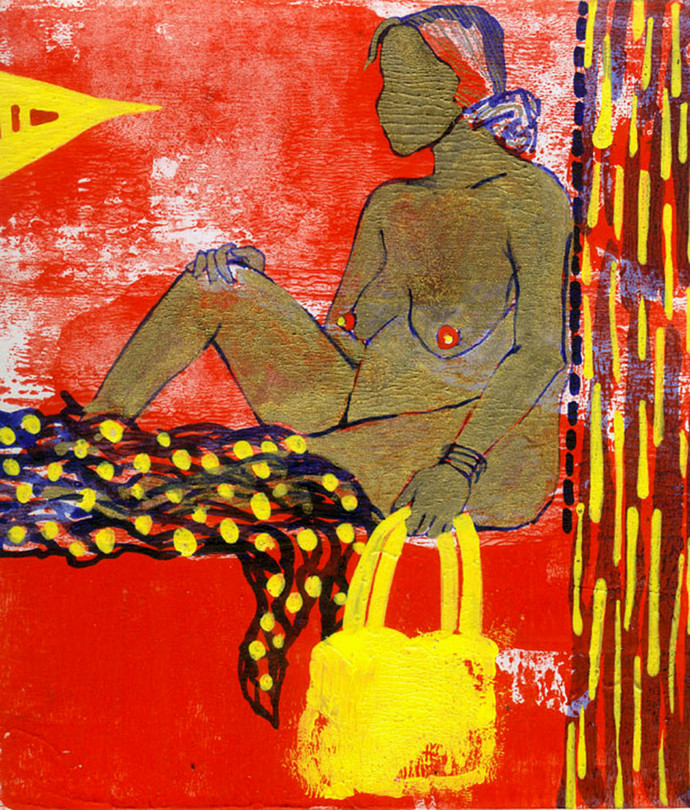 Woman with Yellow Bag by Puja Sarkar, Pop Art Painting, Mixed Media on Board, Brown color