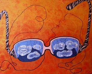 Dreamy Eyes by Puja Sarkar, Pop Art Painting, Acrylic on Canvas, Orange color