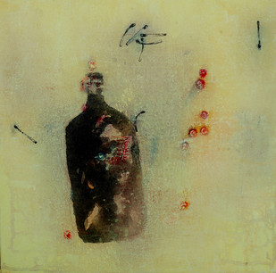 Untitled by Arvind V Patel, Minimalism Painting, Acrylic on Canvas, Beige color