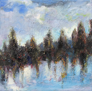 Sky, Land & Water by Animesh Roy, Impressionism Painting, Oil on Linen, Cyan color