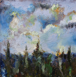 The Sky & the Land-2 by Animesh Roy, Impressionism Painting, Oil on Linen, Gray color