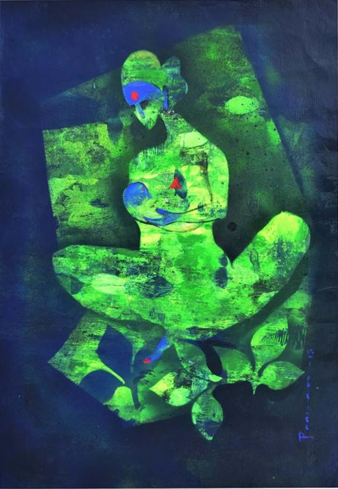 Green Time by Poonam Rana, Impressionism Painting, Acrylic & Ink on Paper, Green color