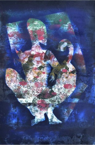 Feeling by Poonam Rana, Impressionism Painting, Acrylic on Paper, Blue color