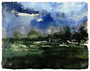 After Rain by Asim Paul, Impressionism Painting, Watercolor on Paper, Green color