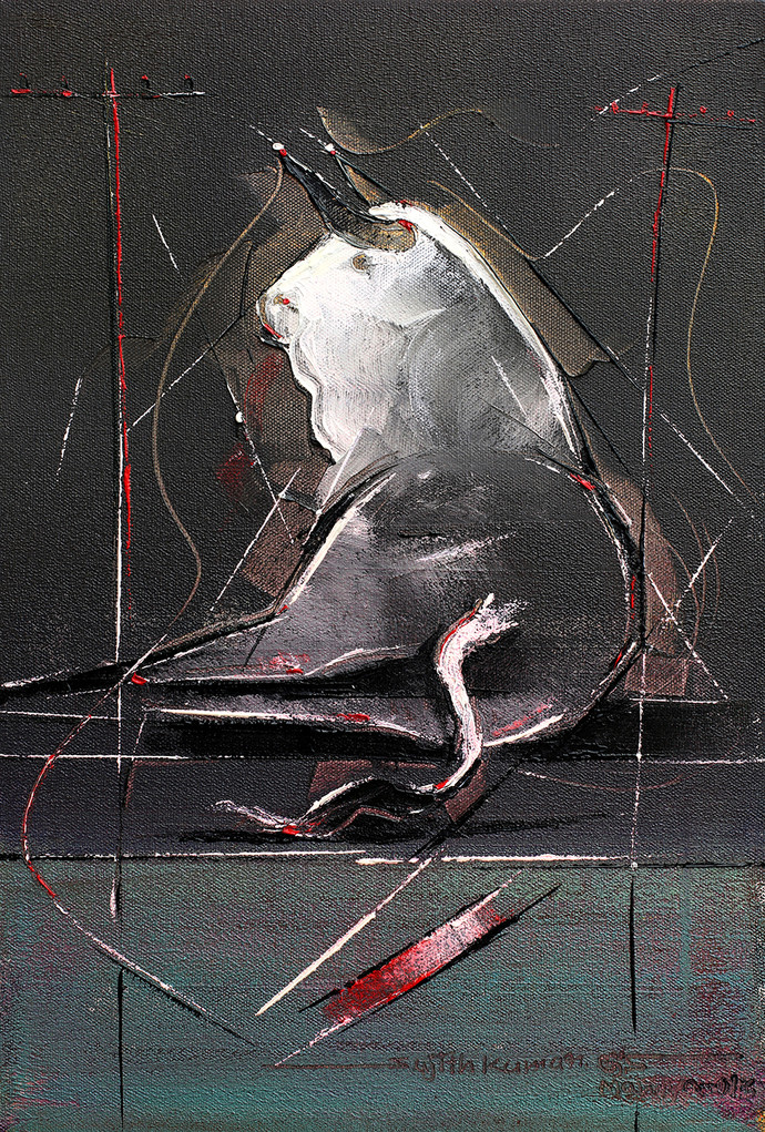 Bull - 110 by Sujith Kumar GS Mandya, Impressionism Painting, Oil on Canvas, Gray color