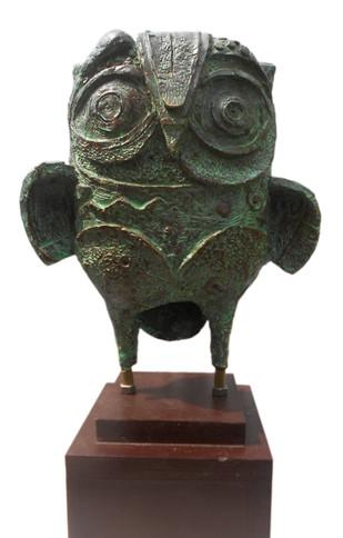 The Owl 04 by Atish Mukherjee, Art Deco Sculpture | 3D, Bronze, White color