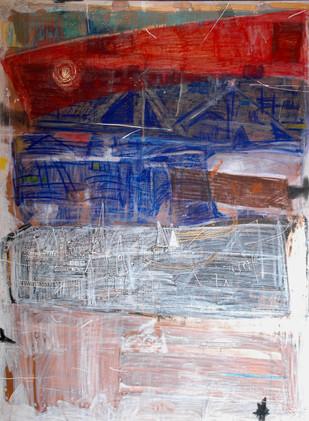 Old Wall 1 by Aditya Sagar, Naive Painting, Mixed Media on Canvas, Brown color